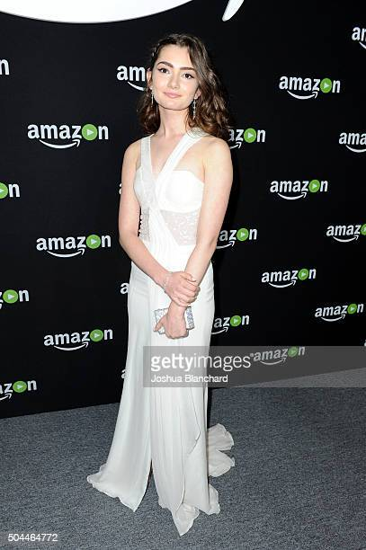 Actress Emily Robinson attends Amazon Studios Golden Globe Awards Party at The Beverly Hilton Hotel on January 10 2016 in Beverly Hills California