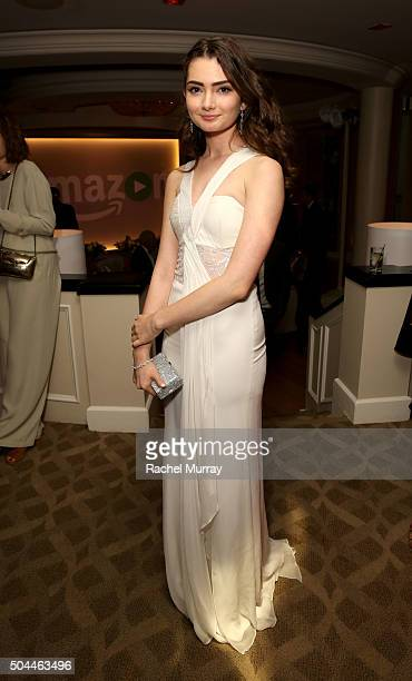 Actress Emily Robinson attends Amazon's Golden Globe Awards Celebration at The Beverly Hilton Hotel on January 10 2016 in Beverly Hills California