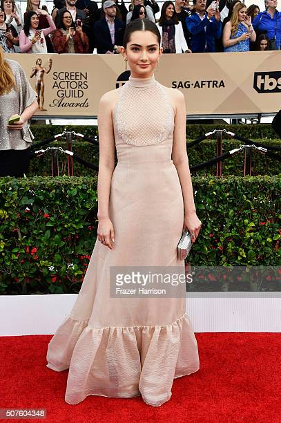 Actress Emily Robinson attends the 22nd Annual Screen Actors Guild Awards at The Shrine Auditorium on January 30 2016 in Los Angeles California