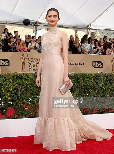 Actress Emily Robinson attends The 22nd Annual Screen Actors Guild Awards at The Shrine Auditorium on January 30 2016 in Los Angeles California...