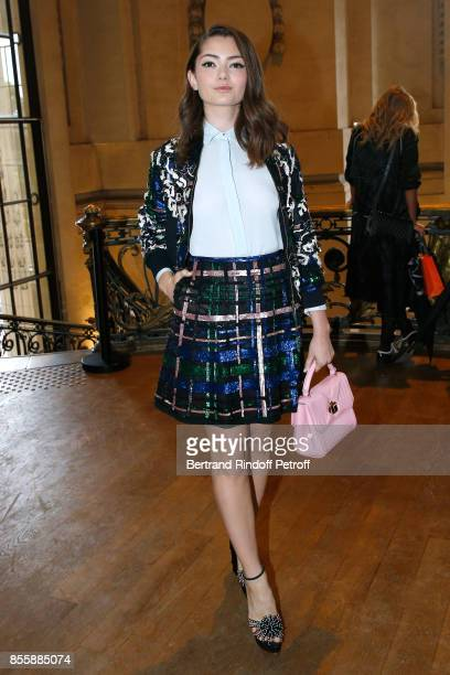Actress Emily Robinson attends the Elie Saab show as part of the Paris Fashion Week Womenswear Spring/Summer 2018 on September 30 2017 in Paris France