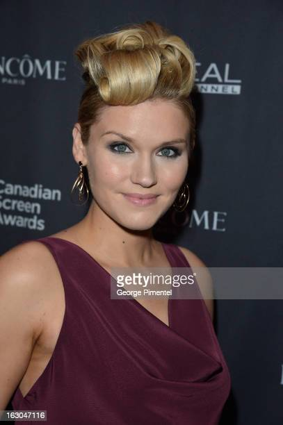Actress Emily Rose arrives at the Canadian Screen Awards at the Sony Centre for the Performing Arts on March 3 2013 in Toronto Canada