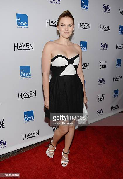 Actress Emily Rose attends Entertainment One's ComicCon 2013 Kick Off Party at Sidebar on July 18 2013 in San Diego California