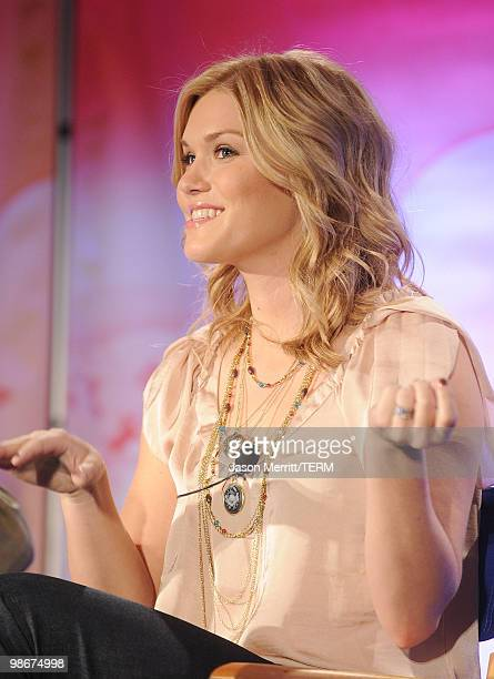Actress Emily Rose talks to reporters at the NBC Universal Summer Press Day on April 26 2010 in Pasadena California