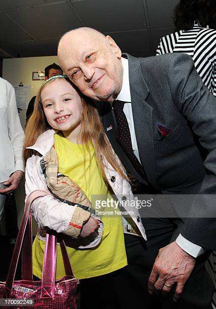 Actress Emily Rosenfeld and Charles Strouse attend Broadway's ANNIE The Musical Composer Charles Strouse Birthday Celebration at the Palace Theatre...