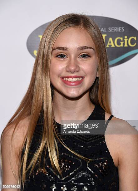 Actress Emily Skinner arrives at a private screening of Amazon's Just Add Magic at the Chaplin Theater at Raleigh Studios on January 20 2016 in...