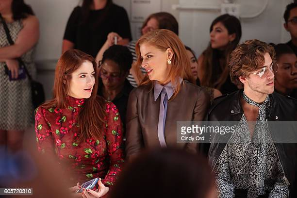 Actress Emily Tremaine and Sarah Rafferty attend the Georgine fashion show during New York Fashion Week September 2016 at The Gallery Skylight at...
