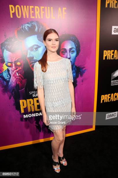 Actress Emily Tyra attends AMC's Preacher Season 2 Premiere at the Theater at the Ace Hotel on June 20 2017 in Los Angeles California