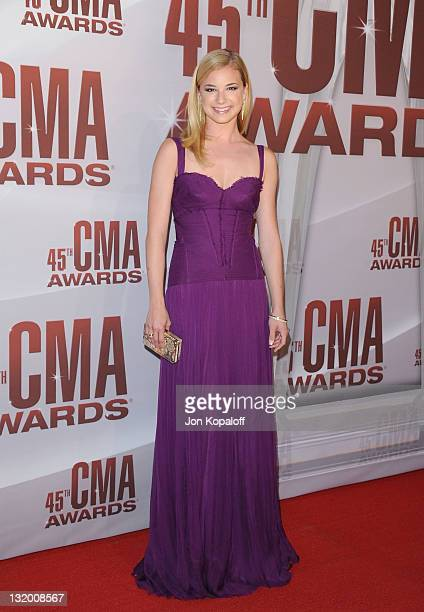 Actress Emily VanCamp arrives at the 45th annual CMA Awards at the Bridgestone Arena on November 9 2011 in Nashville Tennessee