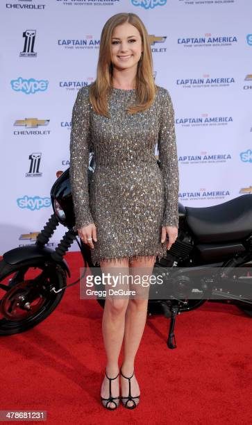 Actress Emily VanCamp arrives at the Los Angeles premiere of 'Captain America The Winter Soldier' at the El Capitan Theatre on March 13 2014 in...