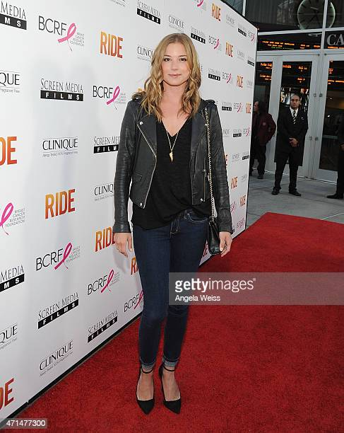 Actress Emily VanCamp arrives at the premiere of Ride at ArcLight Hollywood on April 28 2015 in Hollywood California