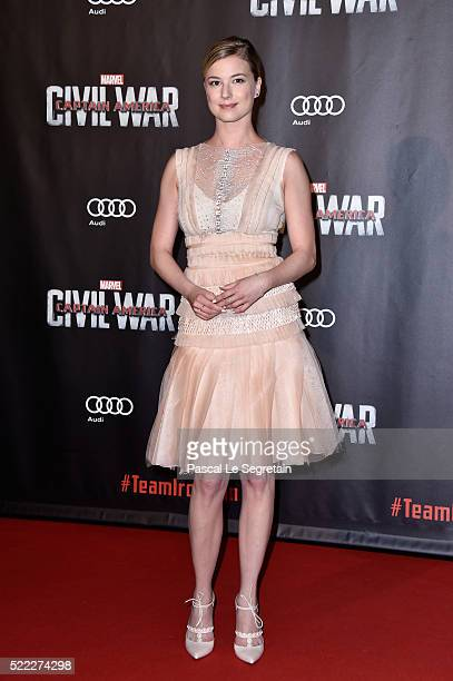 Actress Emily VanCamp attends 'Captain America Civil War' Premiere at Le Grand Rex on April 18 2016 in Paris France