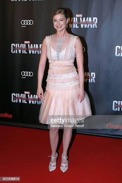 Actress Emily VanCamp attends the 'Captain America Civil War' Paris Premiere Held at Le Grand Rex on April 18 2016 in Paris France