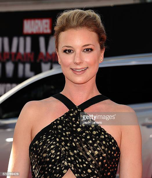 """Actress Emily VanCamp attends the premiere of """"Captain America: Civil War"""" at Dolby Theatre on April 12, 2016 in Hollywood, California."""