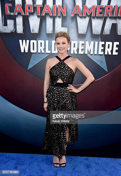 Actress Emily VanCamp attends the premiere of Marvel's 'Captain America Civil War' at Dolby Theatre on April 12 2016 in Los Angeles California