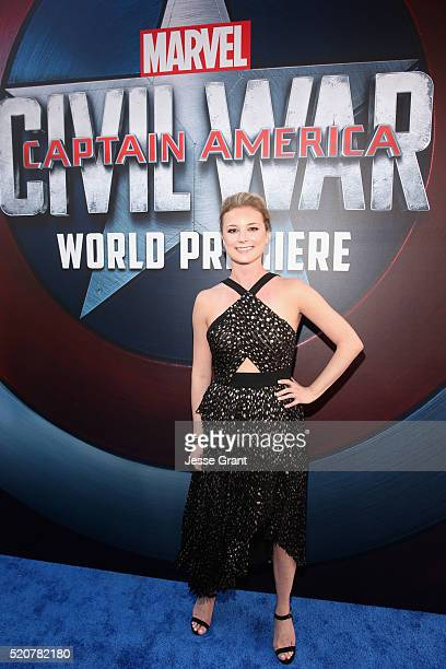 Actress Emily VanCamp attends The World Premiere of Marvel's 'Captain America Civil War' at Dolby Theatre on April 12 2016 in Los Angeles California