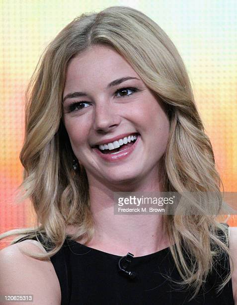"""Actress Emily VanCamp of the television show """"Revenge"""" speaks during the Disney ABC Television Group portion of the 2011 Summer Television Critics..."""