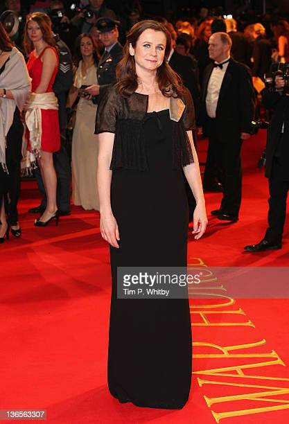 Actress Emily Watson attends the UK premiere of War Horse at Odeon Leicester Square on January 8 2012 in London England