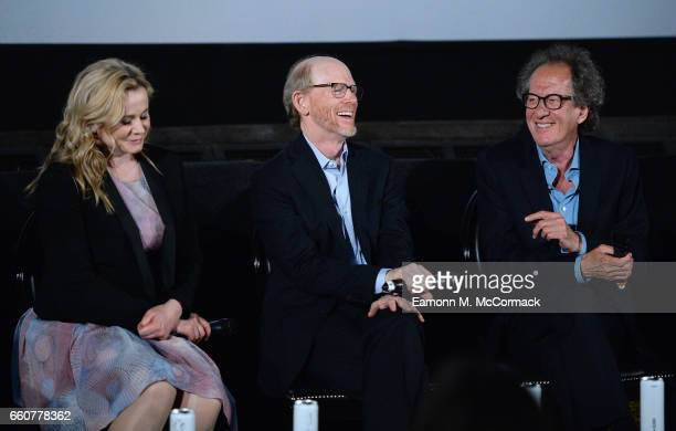 Actress Emily Watson, director and executive producer Ron Howard and actor Geoffrey Rush speak on stage during a Q&A session after the London...