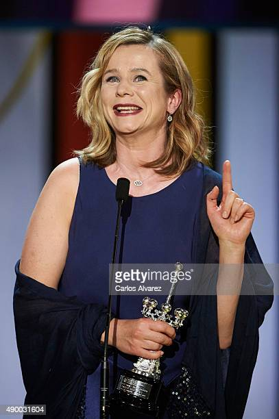 Actress Emily Watson receives the Donostia Award 2015 during 63rd San Sebastian International Film Festival at the Kursaal Palace on September 25...