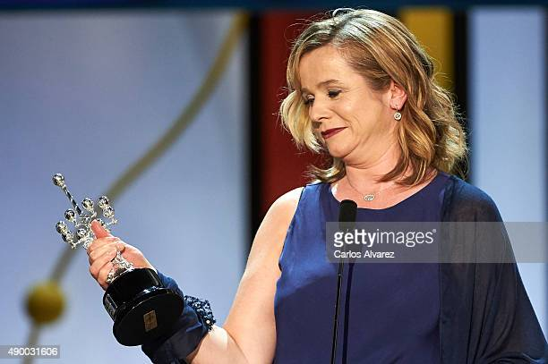 Actress Emily Watson receives the Donostia Award 2015 during 63rd San Sebastian International Film Festival at the Kursaal Palace on September 25,...