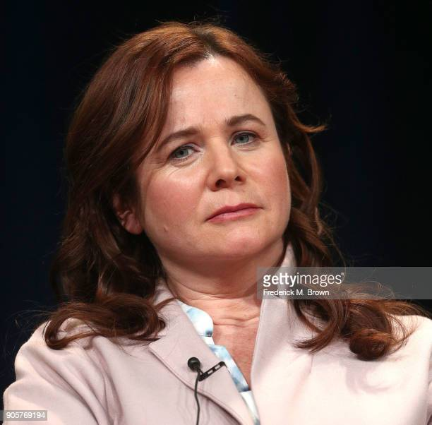 Actress Emily Watson speaks during the PBS segment of the 2018 Winter Television Critics Association Press Tour at The Langham Huntington Pasadena on...