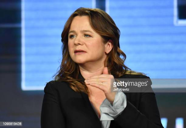 Actress Emily Watson speaks onstage during the Chernobyl panel of the HBO portion of the 2019 Winter TCA on February 8 2019 in Pasadena California