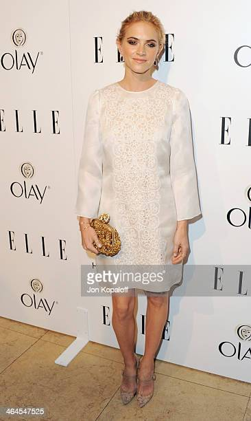 Actress Emily Wickersham arrives at the ELLE Women In Television Celebration at Sunset Tower on January 22 2014 in West Hollywood California