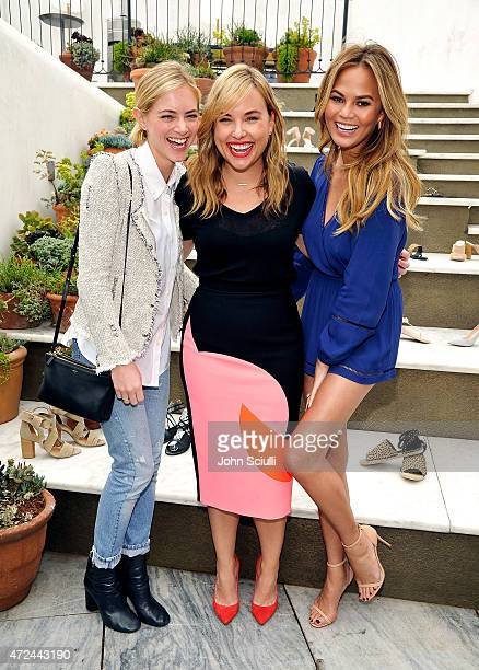 Actress Emily Wickersham Hillary Kerr and model Chrissy Teigen attend RAYE shoe launch event hosted by Chrissy Teigen and Hillary Kerr held At Ysabel...