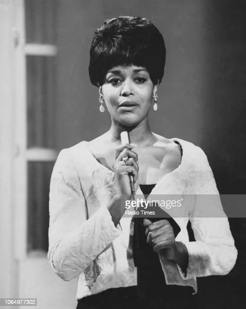 Actress Emily Yancy pictured singing during the musical interlude of the television show 'Not Only But Also' January 30th 1966 First printed in Radio...