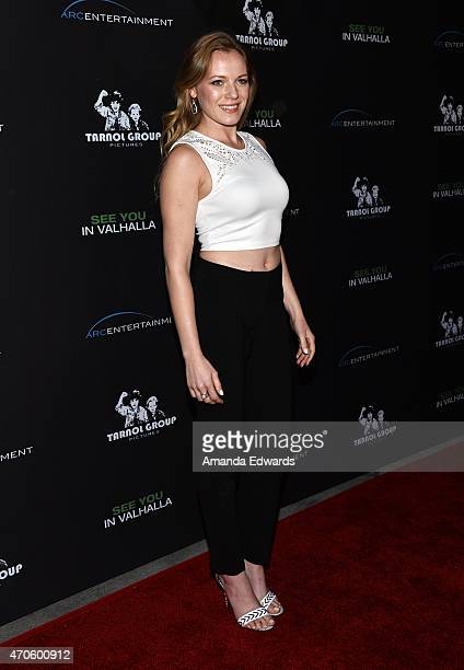"""Actress Emma Bell arrives at the Los Angeles premiere of """"See You In Valhalla"""" at the ArcLight Cinemas on April 21, 2015 in Hollywood, California."""