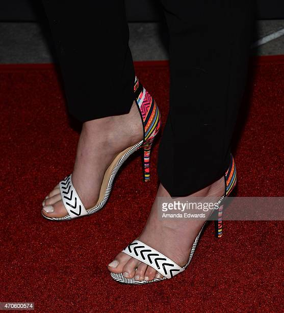 """Actress Emma Bell, shoe detail, arrives at the Los Angeles premiere of """"See You In Valhalla"""" at the ArcLight Cinemas on April 21, 2015 in Hollywood,..."""