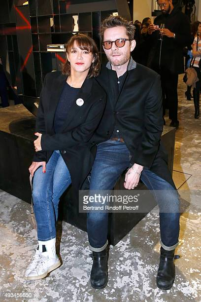 Actress Emma de Caunes and her husband Musician Jamie Hewlett attend the 'New American Art' Exhibition of Artists Matthew Day Jackson and Rashid...