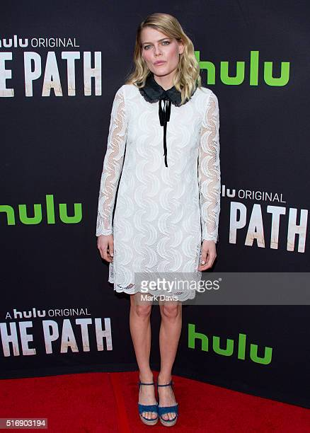 Actress Emma Greenwell arrives during the premiere of Hulu's 'The Path' at ArcLight Hollywood on March 21 2016 in Hollywood California