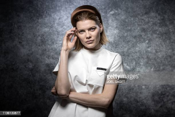 US actress Emma Greenwell poses for a photo session during the 2nd edition of the Cannes International Series Festival on April 9 2019 in Cannes...