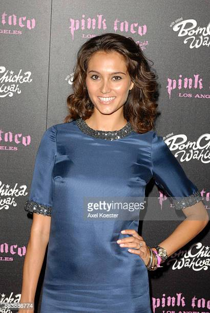 Actress Emma Heming arrives to the opening of Harry Morton's Pink Taco restaurant in the Westfield Century City Mall