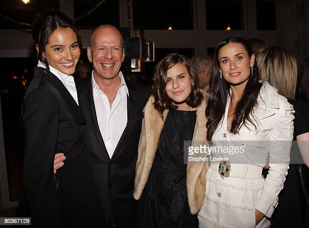 Actress Emma Hemming actor Bruce Willis his daughter Tallulah Belle Willis and her mother actress Demi Moore attend the after party for the screening...