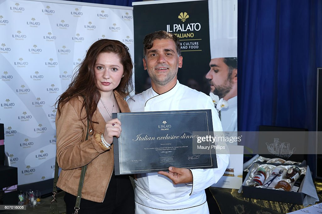 Actress Emma Kenney and chef Filippo Sinisgalli attend PILOT PEN & GBK's Pre-Emmy Luxury Lounge - Day 1 at L'Ermitage Beverly Hills Hotel on September 16, 2016 in Beverly Hills, California.