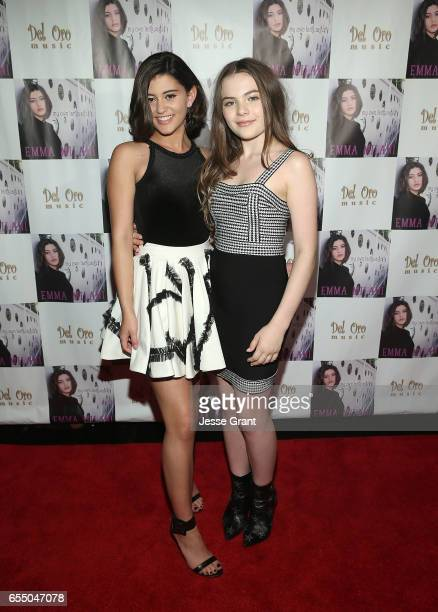 Actress Emma Milani and actress Chiara Aurelia attend the Emma Milani My Own Language song release party at Busby's East on March 18 2017 in Los...