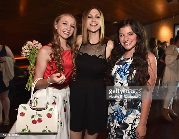 Actress Emma Rayne Lyle director Ali Scher and actress Eva Bella attend the premiere of Marvista Entertainment's 'Jessica Darling's It List' at the...