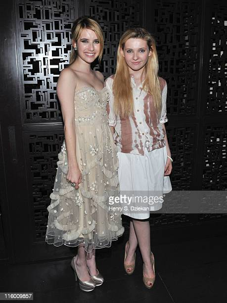 Actress Emma Roberts and actress Abigail Breslin attend the after party for the Cinema Society with AliceOlivia screening of 'The Art of Getting By'...
