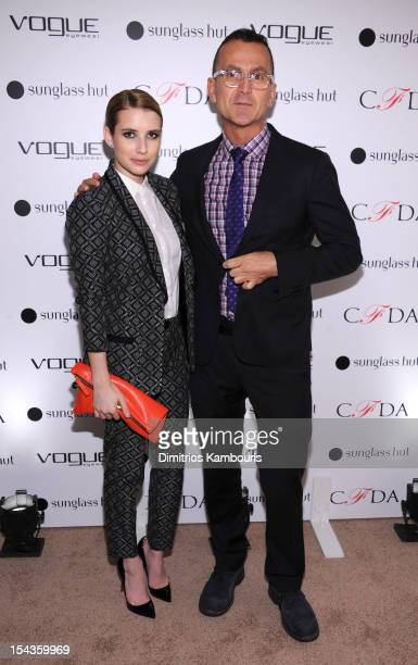 Actress Emma Roberts and CEO of CFDA Steven Kolb attend the Vogue Eyewear and CFDA unveiling of the Emma sunglass with Nanette Lepore and Emma...