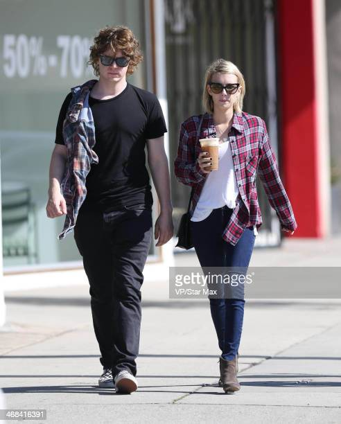 Actress Emma Roberts and her finace Evan Peters are seen on February 10 2014 in Los Angeles California