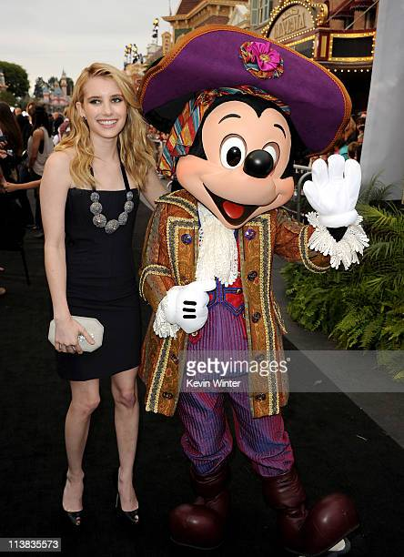 Actress Emma Roberts and Mickey Mouse arrive at premiere of Walt Disney Pictures' 'Pirates of the Caribbean On Stranger Tides' held at Disneyland on...