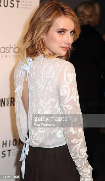 Actress Emma Roberts arrives at British Fashion Council's International Showcasing Initiative London Show Rooms LA Cocktail Party at Smashbox Studios...