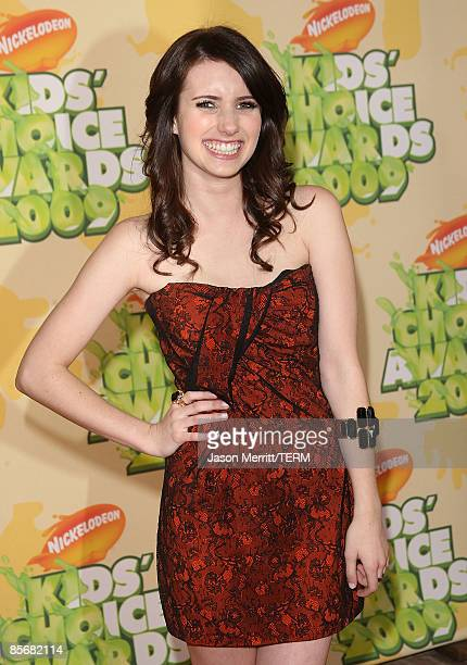 Actress Emma Roberts arrives at Nickelodeon's 2009 Kids' Choice Awards at UCLA's Pauley Pavilion on March 28 2009 in Westwood California