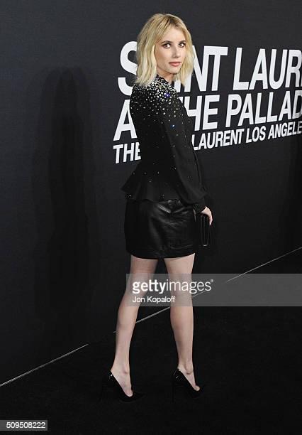 Actress Emma Roberts arrives at SAINT LAURENT At The Palladium at Hollywood Palladium on February 10 2016 in Los Angeles California