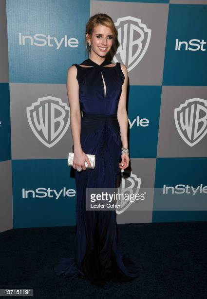Actress Emma Roberts arrives at the 13th Annual Warner Bros. And InStyle Golden Globe After Party held at The Beverly Hilton hotel on January 15,...