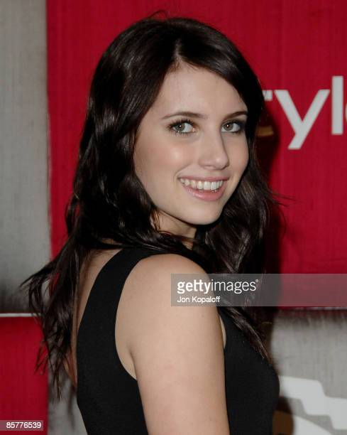 Actress Emma Roberts arrives at the 66th Annual Golden Globe Awards InStyle Warner Bros Official After Party at the Oasis Court at The Beverly Hilton...