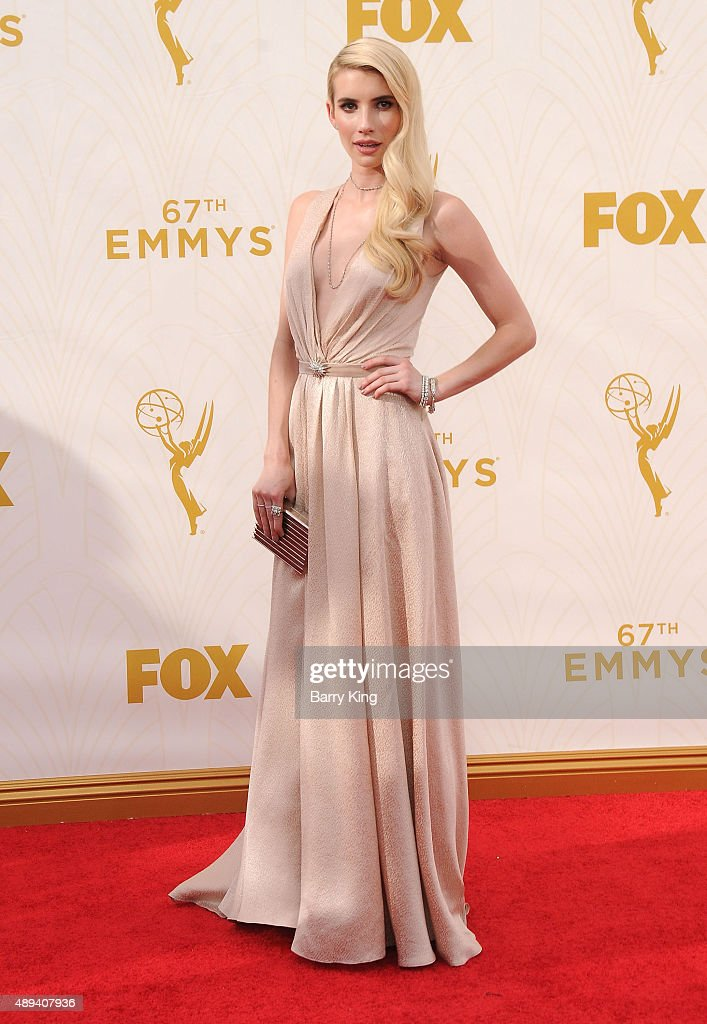 Actress Emma Roberts arrives at the 67th Annual Primetime Emmy Awards at the Microsoft Theater on September 20, 2015 in Los Angeles, California.